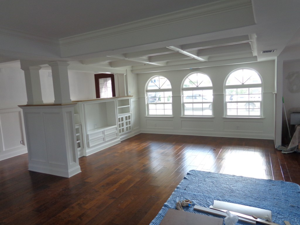 Coffered ceiling, TV cabinet, Wainscoting, Custom columns